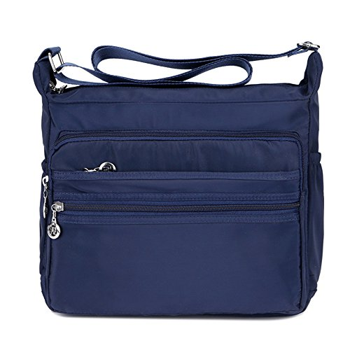 da09ca52f016 Women s Multi-Pocket Casual Crossbody Handbags Waterproof Shoulder Nylon  Bags (Navy)