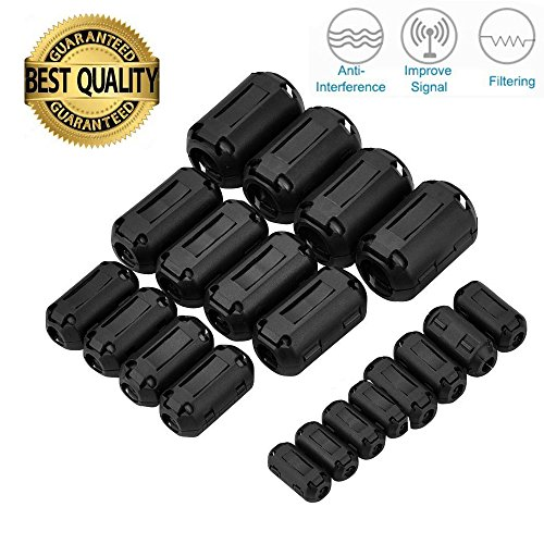 20Pcs Clip-on Ferrite Ring Core RFI EMI Noise Suppressor Kabel Clip 3mm 5mm 7mm 9mm 13mm Innendurchmesser Schwarz