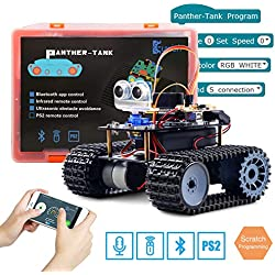 Keywish Panther-Tank Robot for Arduino UNO Project Smart Car Kit with Tutorial,Uno R3 Board,Line Tracking Module, Ultrasonic Sensor,Bluetooth Module,Great Educational Stem Toys for Boys and Girls