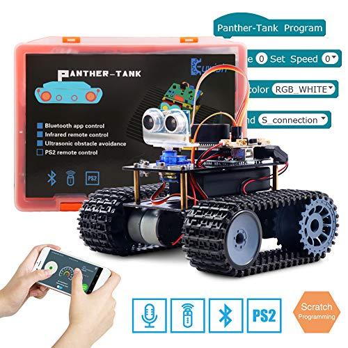 Keywish Roboter für Arduino Car Starter Kit Mit Tutorial, UNO R3 Board, Line Tracking Modul, Ultraschallsensor,Bluetooth Module, 4WD Smart Auto Roboter Spielzeug für Support Scratch Library - Tank