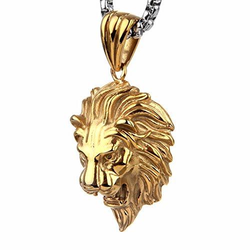 copaul-joyeria-collar-con-colgante-de-hombrecadena-60cmleon-tribal-goticoacero-inoxidablecolor-oro