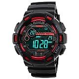 Impermeable Relojes de Hombre Digitales LED Multifuncional Electrónica Outdoor Deportivos Militares Táctica Plástico Bisel Y Correa Goma 50M Resistente Agua Relojes de Pulsera - Rojo