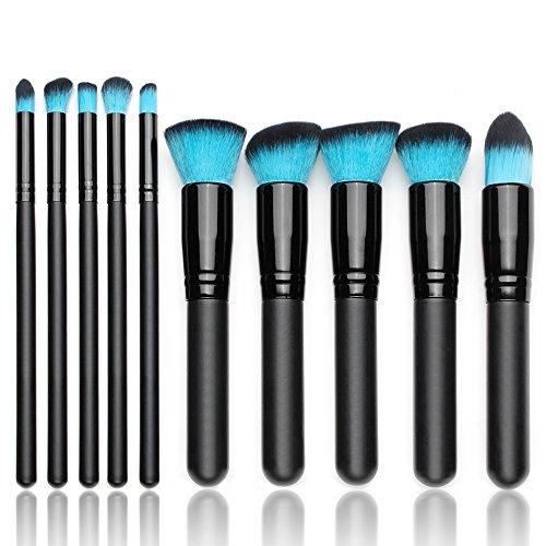 Qivange Kabuki Makeup Brush Set, Foundation Eyeshadow Blush Concealer Powder Highlighter Makeup Brushes(10pcs, Black with Blue Hair)