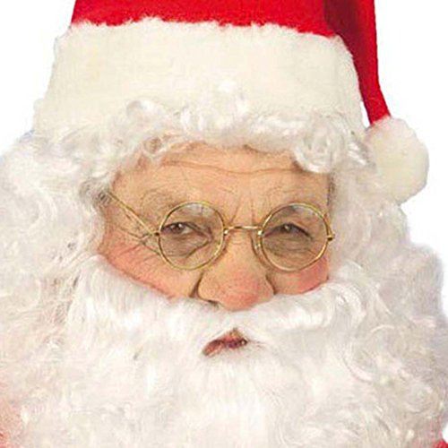 Santa Claus Brille runde Goldrand Weihnachtsbrille Weihnachtsmann Nikolausbrille Weihnachts (Brille Runde Santa)