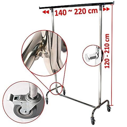 Industrie Kleiderständer für professionellen Kleiderstange Garderobenständer ausziehbar bis 220 cm breit