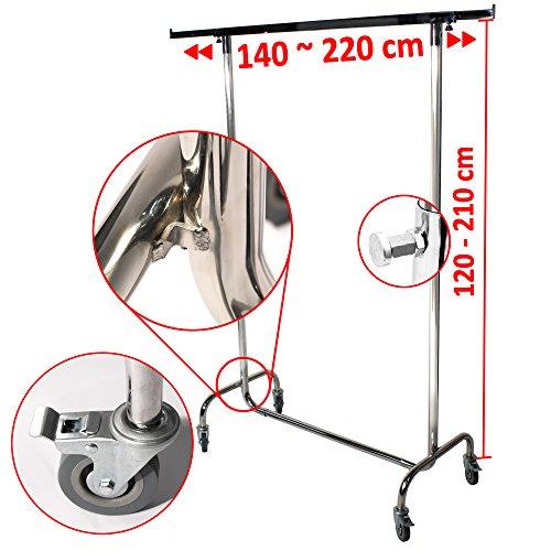 Industrie Kleiderständer für professionellen Kleiderstange Garderobenständer ausziehbar bis 220 cm breit stabil