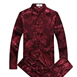 Airuiby Tang Anzug Männer Traditionelle chinesische Kleidung Anzüge Hanfu Baumwolle Langärmeliges Shirt Mantel Herren Tops und Hosen (Rot, M)