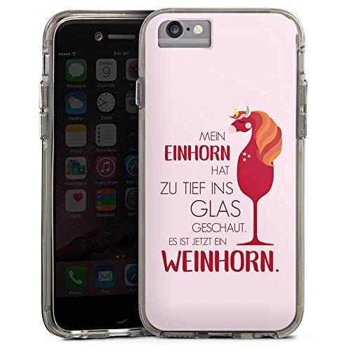 Apple iPhone 6 Bumper Hülle Bumper Case Glitzer Hülle Sayings Quotes Einhorn Bumper Case transparent grau