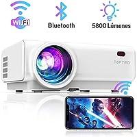 Proyector WiFi, TOPTRO 5800 Lúmenes Bluetooth Mini Proyector Portátil Soporte Video 1080P , Proyectores Cine en Casa, Zoom X/Y, LED 60000H, para Fire TV Stick, PC, PS4, con Cable HDMI y AV