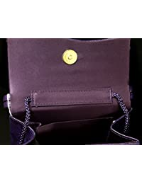 Purple Black Snake-Skin Print Fashion Hand Bag Clutch Purse With Magnetic Snap Closure PS489PPP
