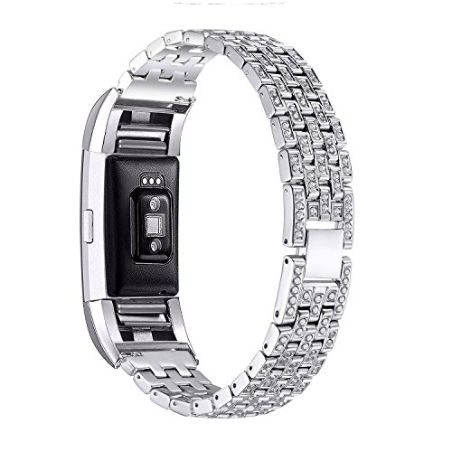 88AMZ Kompatibel mit Fitbit Charge 2 Deluxe Kristall Edelstahl Metallarmband, Uhrenarmband, Edelstahl Armband,Frauen Männer Uhrenarmband,Edelstahl Ersatz Schlaufe Armbänder mit Metallschließe (Silver)