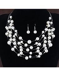 GYJUN Bijoux Colliers décoratifs Boucles d'oreille Mariage Soirée Quotidien Décontracté Alliage Imitation de perle 1set Femme Argent Blanc