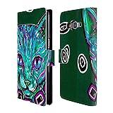Head Case Designs Offizielle Mad Dog Art Gallery Grüne Tabby Katzen Brieftasche Handyhülle aus Leder für Samsung Galaxy Grand Prime