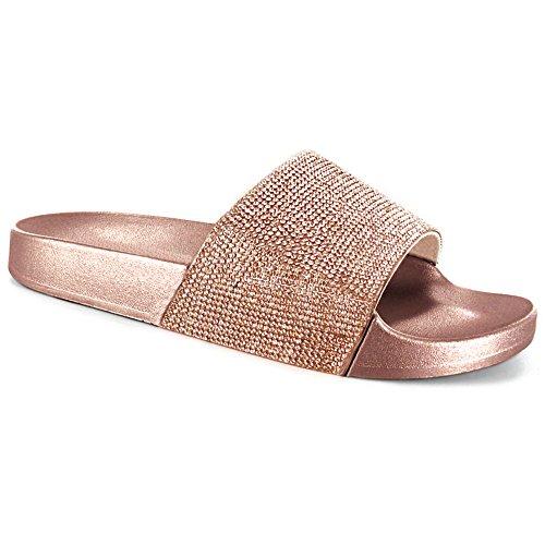 23e8e0ede5466 SUGAR ISLAND® Celebrity Style Damen Damen Glitzer Diamante Flip Flops  Schieberegler Hausschuhe Hausschuhe Pantoletten