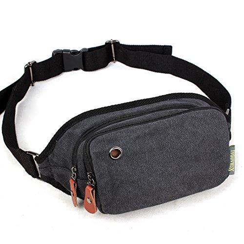 Outdoor peak Canvas Herren Damen Hüfttasche Gürteltasche Bauchtasche für Handy, Schlüssel, Geldbörse (khaki) schwarz