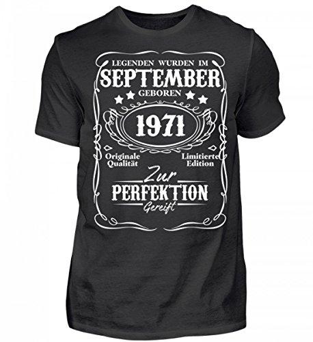 Shirtee Hochwertiges Herren Shirt - Legenden September Geburtstag 1971 Schwarz