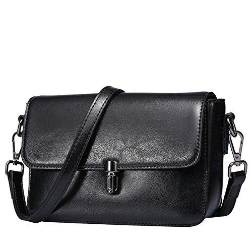 Dissa Q0740 Damen Leder Handtaschen Top Handle Satchel Tote Taschen Schultertaschen,22x8x13 B x T x H (cm) Schwarz