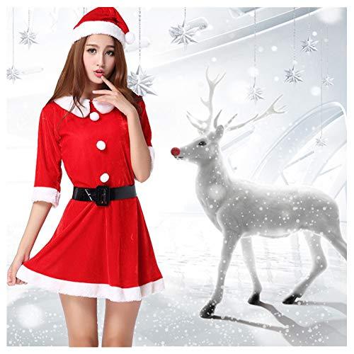 GSDZN - Weihnachtsmann Damen, Hut, Kleid, Gürtel, Santa, Weihnachten, Größe S-3XL,M