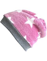 WOLLHUHN Warme Beanie-Mütze in rosa mit weißen Sternen und grauem Bündchen für Mädchen, 20170802