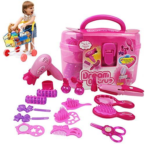 Asien 1set Kinder Make Up Kit Pretend Play Make Up Fall Und Kosmetik-gesetzte Mädchen-Spiel Pretend Hair Styling Set Inklusive Fön Comb Lockenwickler Schere Spiegel Kit -