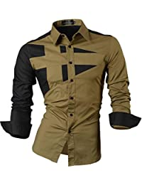 jeansian De manga Larga De Los Hombres De Moda Slim Fit Patchwork Camisas Men Fashion Slim Fit Patchwork Long Sleeve Shirts 8397