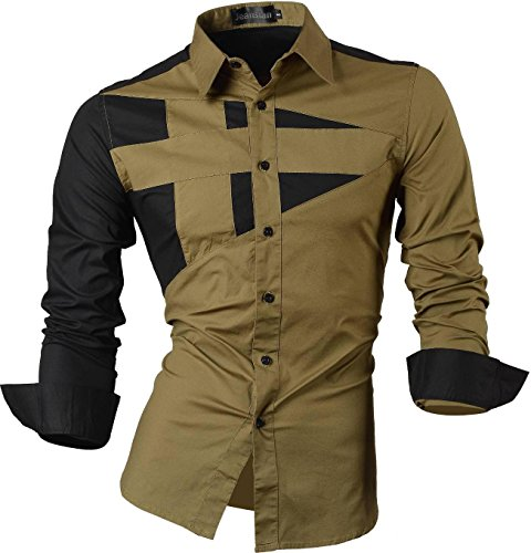 jeansian Herren Freizeit Hemden Shirt Tops Mode Langarmshirts Slim Fit 8397 8397_Green