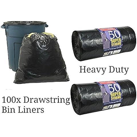100Super forte nero borsa rifiuti Sacchi Spazzatura con cordoncino