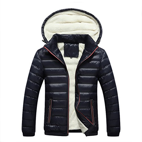Linyuan bonne qualité Winter Cotton Coat Men's Thicken Warm Hooded Jacket Outerdoor Slim Fit Detachable Hat Dark Blue