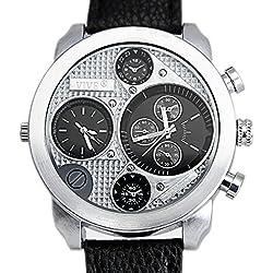 Banger Dualtime Schwarz Black Line Chronograph for Men Double Temps Zwei Zonen Navigator Herrenuhr XL Atlas Modell mit 2 Uhrwerken Weltzeituhr Schwarz Silber mit Lederarmband Kontrastnähte