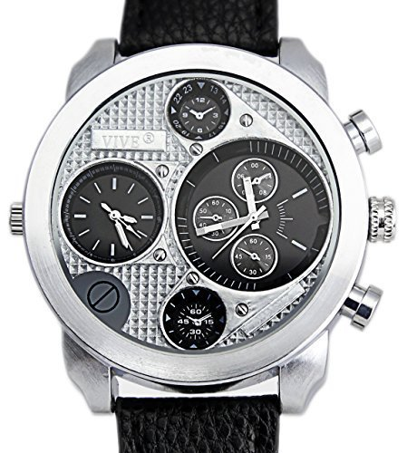 Banger Dualtime Schwarz Black Line Chronograph for Men Double Temps Zwei Zonen Navigator Herrenuhr XL Atlas Modell mit 2 Uhrwerken Weltzeituhr Schwarz Silber mit Lederarmband Kontrastnähte