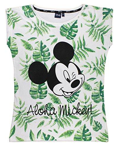 Mickey Mouse - Camiseta - para Mujer Blanc-Vert L
