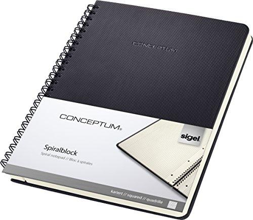 Sigel CO822 Spiralblock A5, kariert, Hardcover, schwarz, 80 Blatt, CONCEPTUM - auch in A4