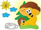 Wandlampe Holz - Pilz Sonne - Lampe Kinder Kinderzimmer Kinderlampe Wandleuchte Decke Wolke Pilze