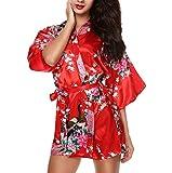 CHENGYANG Donna Vestaglie Scollo a V Kimono Corto Raso Pavone e Fiore Pigiama Camicia da Notte (Rosso, M)