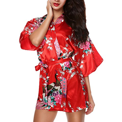 CHENGYANG Donna Vestaglie Scollo a V Kimono Corto Raso Pavone e Fiore Pigiama Camicia da Notte Rosso