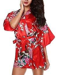 CHENGYANG Donna Vestaglie Scollo a V Kimono Corto Raso Pavone e Fiore  Pigiama Camicia da Notte 8c151d989a0