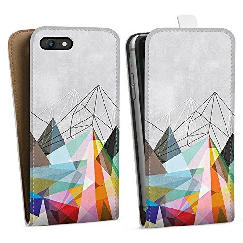 Apple iPhone X Silikon Hülle Case Schutzhülle Dreiecke Muster Design Downflip Tasche weiß