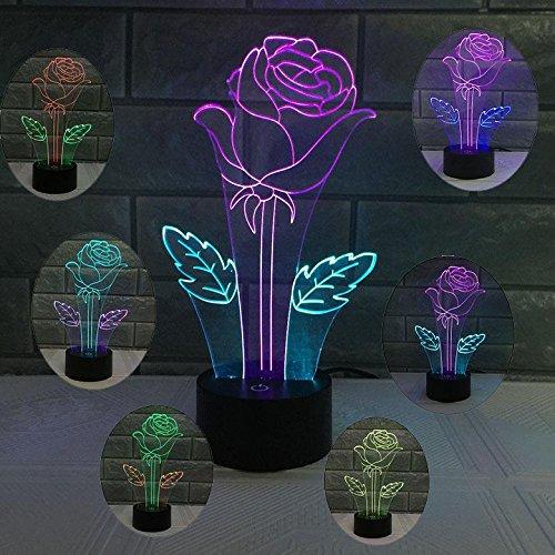 JAYLONG Neue 3D visuelle kreative LED-Lampe 3W für Kinder Nachtlichter rote Rose Valentinstag 7 Farben Touch-Schalter Steuerung Kunst Lichter für Nachtlicht Baby Kinder Erwachsene für Baby Schlafzimmer Kinderzimmer Geburtstagsgeschenk (Rose Touch-lampe)