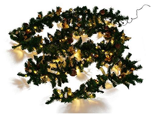 Weihnachtsdeko Tannen- Girlande mit 80 LED und Deko, gold