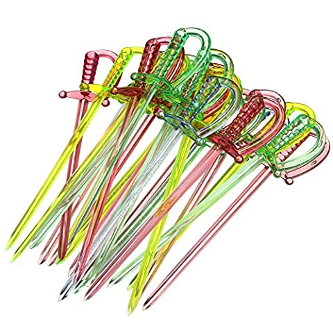 100PCS Mix Color Plastic Pirate Sword Design Cupcake Pastry Cocktail Fruit Forks Party Decor