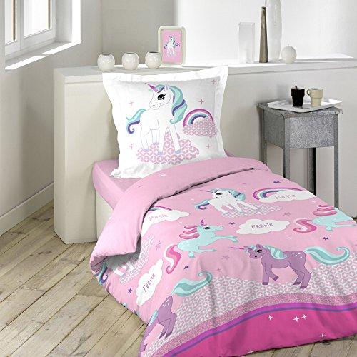 Einhorn-Bettwäsche mit Kissenbezug, Baumwolle, Mehrfarbig, 140x 200cm