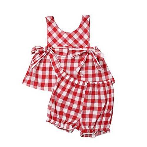 LEXUPE Neugeborene Baby Mädchen gekräuselte Plaid Bow PP Laterne Shorts 2PC Outfits Sets (Rot, 80) Rot Plaid Bow