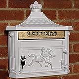 Wand montiert Viktorianischer Stil Briefkasten Antik Weiß Aluguss Briefkasten Mailbox