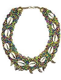 Carcasa Cowrie collar con cadena de bolas, Full latón hojas Boho Gypsy africano tribal Banjara