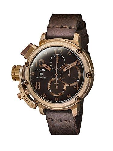 U-Boat Chimera 46 mm, colore: bronzo/a-Orologio da uomo automatico, colore: marrone, Display con cronografo e cinturino in pelle, colore: 7474,0