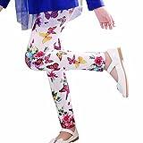 ❀AMUSTER ❀Pantalons pour enfants Leggings d'impression Flower Classic petites filles Pantalons à crayons 2-13 Ans (8-9 Ans, Rouge)