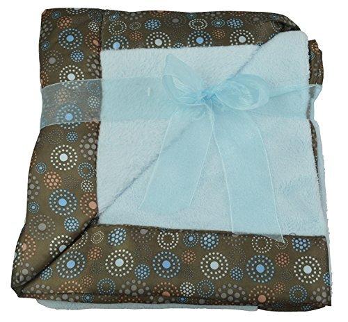 Little Anfängen Blue Soft Baby Fleece Decke mit Satin Braun Dekoration
