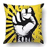 NDJHEH kissenbezüge Black Graffiti of Clenched Fist Held High in Protest on The Yellow Grunge Urban Revolution Union Polyester 18 X 18 Inch Square Hidden Zipper Decorative Pillowcase