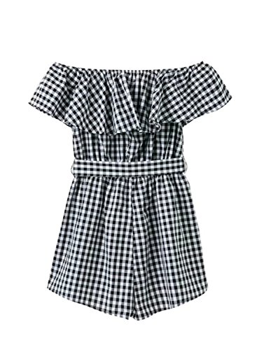 ACHICGIRL Women's Off Shoulder Ruffle Plaid Tie Waist Romper Black&white