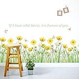 JIAER PVC Kleine Gelbe Blumen Sockelleiste Wandaufkleber Schränke Badezimmer Glastüren Und Windows Farfalle Dekorative Wandtattoo